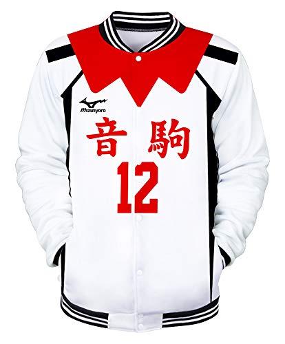 QYIFIRST Unisex Anime 3D Druck Hoodie Nekoma High School Yuuki Shibayama No.12 Baseballuniform Langarm Sweatshirt College Jacke Varsity Jacket Rot/Weiß M (Chest 104cm)