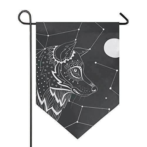 FANTAZIO Fantasio Wolf-Sternbild-Flagge, Premium-Qualität, für Hof, Urlaub und saisonale Dekoration, für den Außenbereich, doppelseitig, Polyester, 1, 12x18.5in
