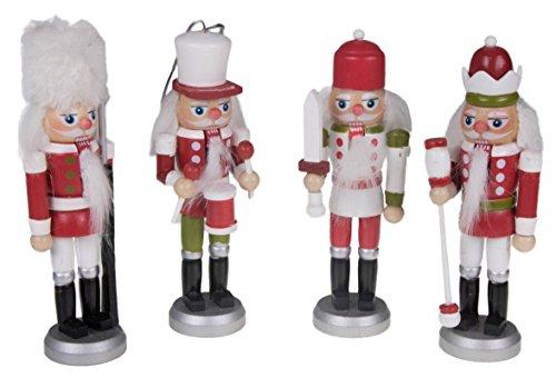 Clever Creations - Nussknacker für den Weihnachtsbaum - Festliche Weihnachtsdeko - leicht und bruchsicher - 100{618fa5409a3a4db4ab4f16335e23d7ebbb3f5a1e9250e0ce12cf25dfce10b8e0} Holz - mit Bändern zum Aufhängen - Rot, grün & weiß - 14 cm - 4 Stück