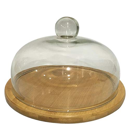 Ganvol Cake Dome 26cm x 16cm, Cake Stand with Dome Lid, Cheese Dome, Round Cake Display Tray with Glass Cover, Cake Plate with Glass Lid for Home Kitchen 8 inch, Medium