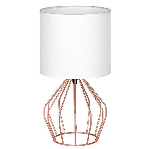 Bedside Table Lamp, Minimalist Desk Lamp with Rose Gold Hollowed Out Base and Linen Fabric Shade, Nightstand Lamp for Bedroom, Living Room, Girls Room, Pink Room
