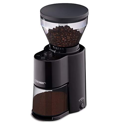 Cloer 7520 Elektrische Kaffeemühle mit Kegelmahlwerk aus Edelstahl, Stiftung Warentest gut, 2-12 Tassen, 300 g Kaffeebohnen, 150 W, verstellbarer Mahlgrad, Kunststoff, Schwarz