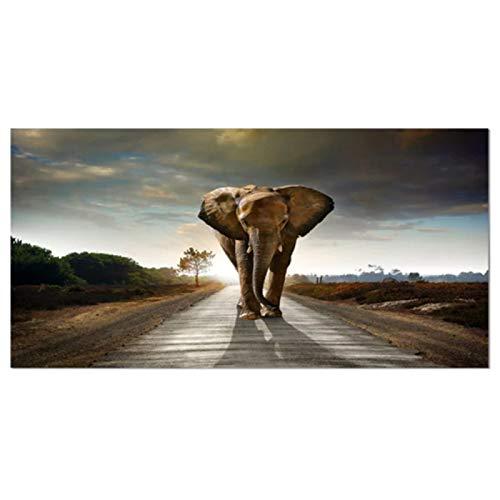 5D Diy Pintura Diamante Elefante Adultos Taladro Completo Kit De Punto De Cruz Kits De Para Rhinestone Bordado Diamante Arte Para La Decoración De La Pared De La Sala De Estar 40x80cm