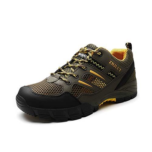 Zapatos Trekking Unisex, Zapatos para Correr Ligeros, Transpirables, Suaves Y Cómodos, Ideales para Senderismo, Trekking, Camping, Todoterreno Durante Toda La Temporada (Army Green,37 (EU 38 1/3))