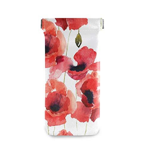XiangHeFu Sonnenbrille-Kasten-Schutzbrillen-Beutel-Brillen-Beutel-stilisierter Mohnblumen-Blumen Multiuse netter beweglicher Halter