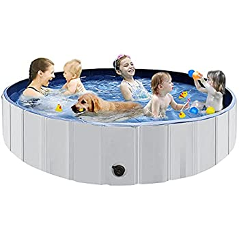 Juegoal 63 x 12  Foldable Baby Dog Pet Bath Swimming Pool Hard Plastic Kiddie Collapsible Dog Pet Pool Bathing Tub Portable Pet Bath Tub Pool for Indoor & Outdoor Kids Pets Dogs Cats