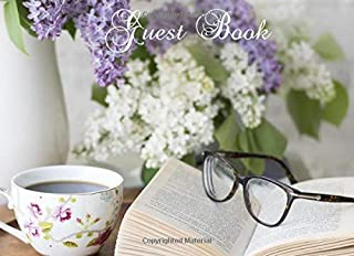 Guest Book: Vintage Style Book, Glasses and Flowers Guestbook, Paperback Visitors Book, Guest & Visitors Comments, Restaurant Tea Room Feedback
