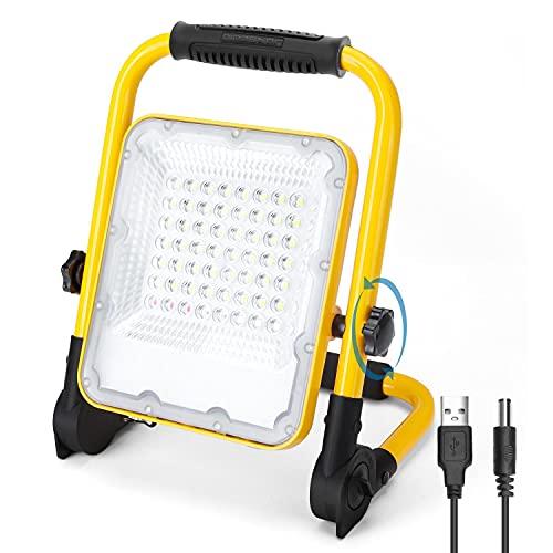 Aigostar Foco LED Bateria 30W,Foco LED Recargable Portátil ,Luz de Trabajo,Impermeable IP65,Función SOS,Uso para Interior y exterior:Garaje,Camping,reparación de coches,obra,emergencias