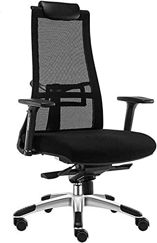 Silla de computadora para el hogar, silla giratoria ajustable silla de oficina respaldo elevador apoyabrazos negro
