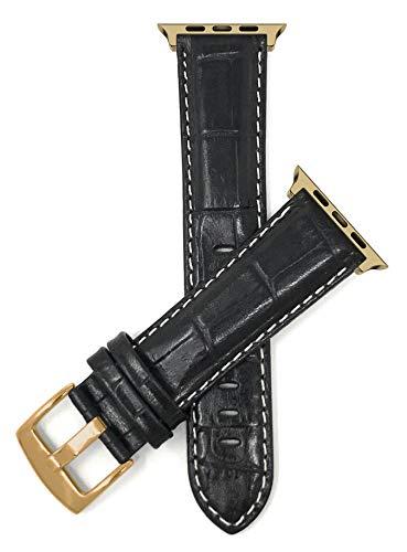 Bandini - Correa de repuesto para reloj de Apple Watch (XL), compatible con Apple Watch Series 5, 4, 3, 2, 1, cocodrilo Pat, hebilla negra y dorada, conector de tono dorado, 38 mm/40 mm