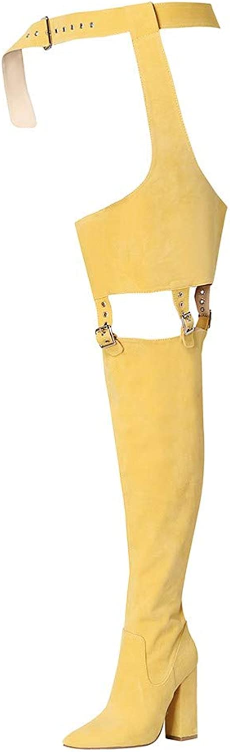 European Ladies Ins Style Fashion Women Tall Boots Winter Boots Pointed Suede Thick Over The Knee High Heel Boots High Strap Zip Heel Boots