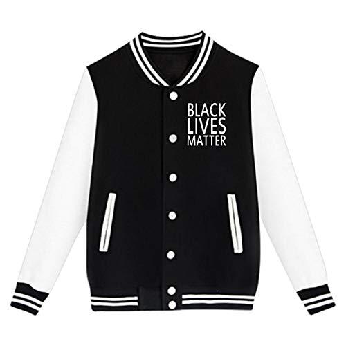 Boy Girl Sport Baseball Jacket - Black Lives Matter Teenage Uniform Sweater Coat