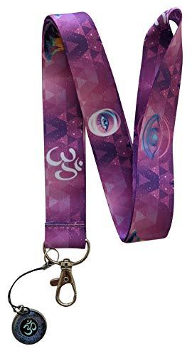 Yoga Chakra Print Lanyard Keychain Strap w/ Charm (Purple)
