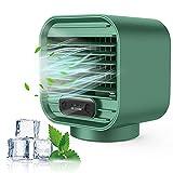 Zeato Aire Acondicionado Portátil Silencioso, Aire Acondicionado Portátil 3 en 1 para Aire frío/3 Velocidades, Mini Ventilador de Refrigeración por Aire para Hogar Oficina Cocina y Cámping(Verde)