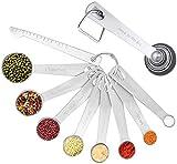 CYWVYNYT Juego de cucharas medidoras, cucharas medidoras, de acero inoxidable, con báscula para hornear exponates, raciones en seco, aptas para lavavajillas, 8 unidades
