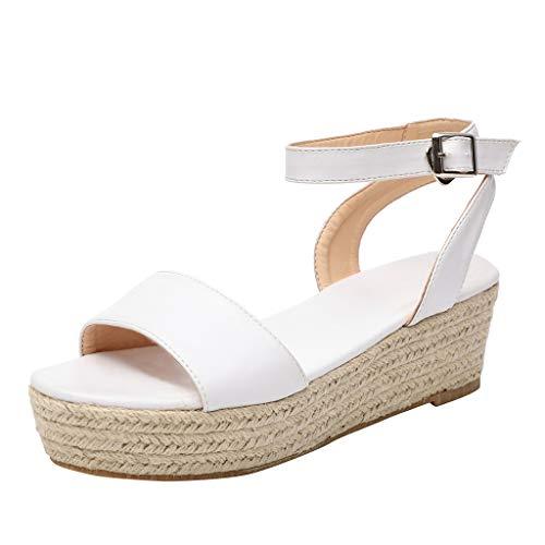 MORCHANMesdames Bracelet Cheville Boucle Platform Wedges Sandales Tissé Chaussures Roman féminin