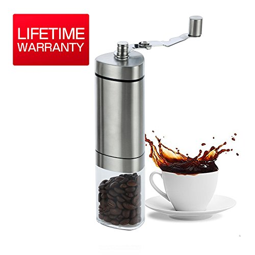 AmazeFan Manual Coffee Grinder, Stainless Steel,Hand Mill Adjustable Ceramic Conical Burr Mill with Antislip Triangle Pole Design and Foldable Handle Convenient to Carry Lifetime Full REFUND