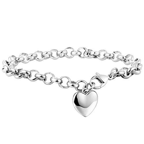Besteel Stainless Steel Chain Link Bracelets for Women with Finish Heart Charm Bracelet White Color