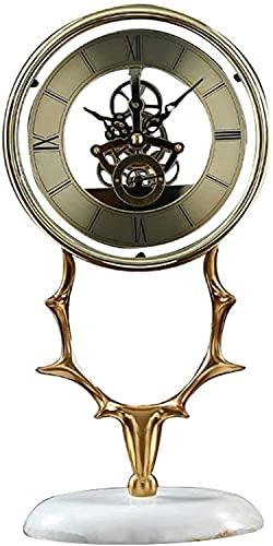 X&Z-XAOY Relojes De Escritorio De Latón con Cabeza De Ciervo- Reloj De Repisa Retro Reloj De Mesa Silencioso Movimiento Transparente para La Cocina del Dormitorio De La Sala De Estar