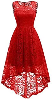 Yi Yi Womens Sleeveless Elegant Floral Lace High Low Formal Bridesmaid Swing Dress