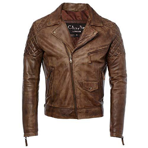Soltau - Chaqueta de piel para hombre, estilo motociclista, diseño de diamante