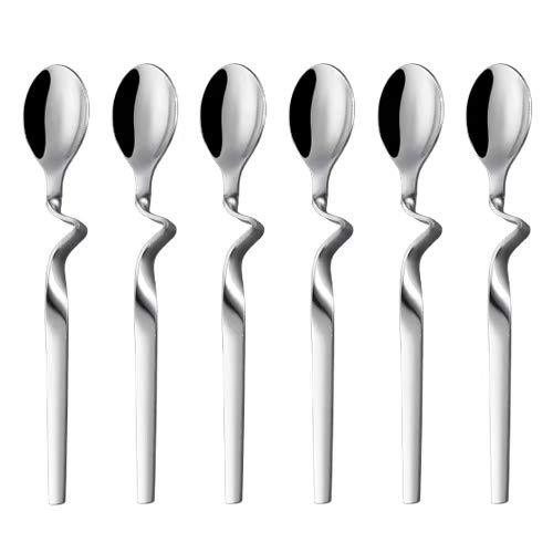 Demitasse Espresso Spoon Seeshine Stainless Steel Jam Honey Spoon Coffee Stir Spoon with Curved Handle Set of 6