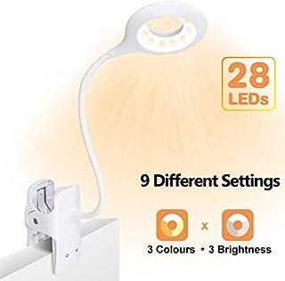 Luz de lectura con clip, luz de libro LED 28 Eye Protect, luz de lectura de cama de 3 colores * 3 brillos con cuello flexible, lámpara de lectura recargable USB, luz de escritorio de control táctil