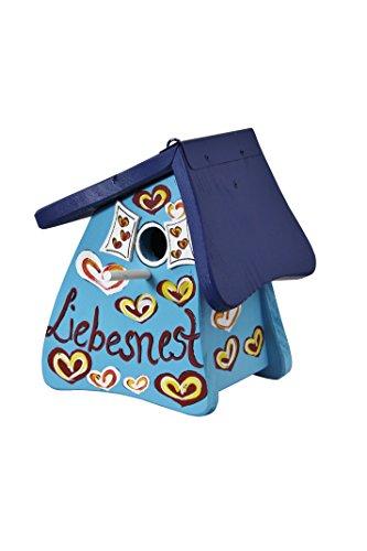 Die Vogelvilla, Nistmini Liebesnest Herzen, Nistkasten, Vogelhaus, blau