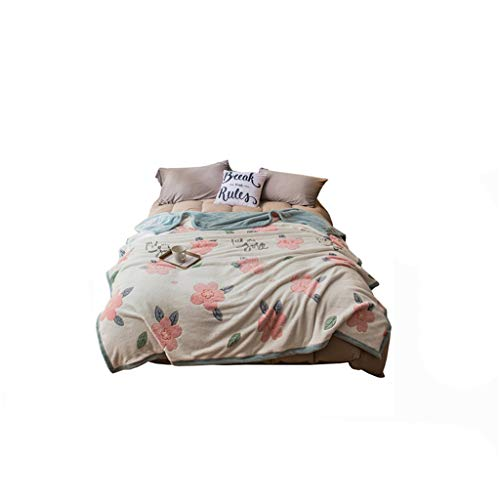 C-J-Xin Girl Quilt, Lovely Printing Two People Big Quilt Pink Floret Princess Nap Blanket Child Go To Bed Small Quilt Double-sided Sofa Blanket Family quilts (Size : 180 * 220CM)