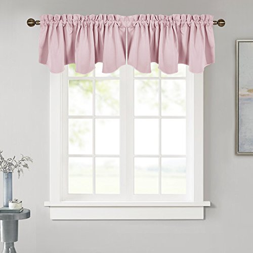 NICETOWN Bedroom Blackout Valance Tier - 52 inches by 18 inches Scalloped Rod Pocket Valance Window Curtain Valance for Girl's Room/Baby Nursery/Dormitory/Kids Room, Lavender Pink, 1 Pack