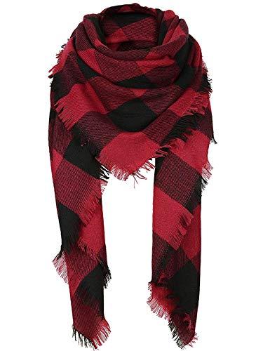 Century Star - Bufanda de tartán para mujer, estilo cálido, con borlas suaves, para invierno - - Talla única