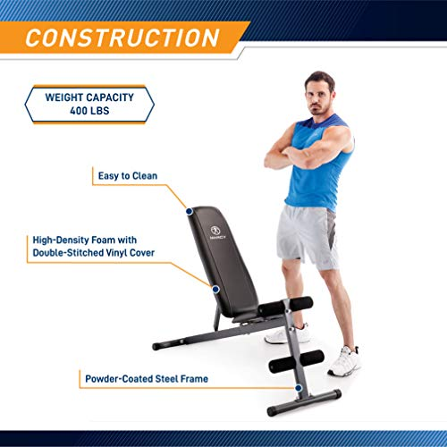 Exercise Utility Bench for Upright, Incline, Decline, and Flat Exercise SB-261W