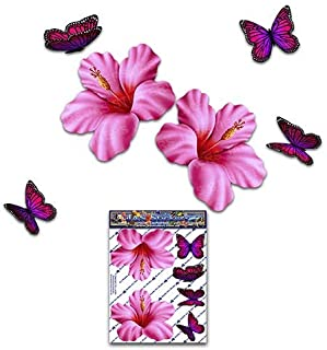 ピンクのハイビスカスの花の花+蝶動物小パック面白いジョークデカールステッカー車自転車ラップトップ電話トラックオートバイボートキャラバン-ST00023PK_SML-JASステッカー