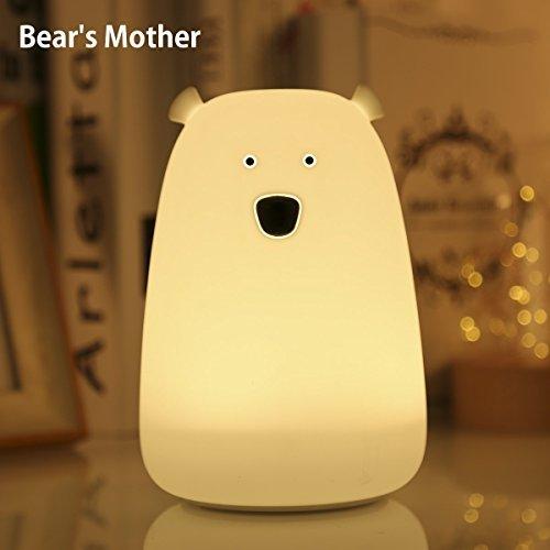 LED Nachtlicht Kinder Nachtleuchte Bär USB Schlummerleuchte dimmbar 7 Farbwechsel Silikon Tippen Lampe für Babyzimmer Schlafzimmer