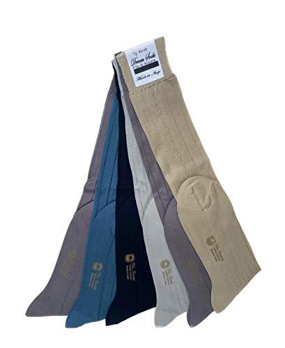 DREAM SOCKS 6 paia Calze da uomo lunghe in pregiato cotone 100% FILO SCOZIA,prodotto MADE IN ITALY,vari assortimenti (43-46, set. PASTELLO COSTE)