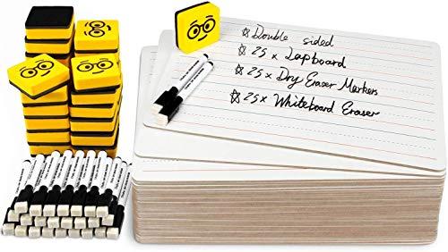 pizarras blancas de borrado en seco Pack de 25, Ohuhu pizarras de 229x305mm, que incluyen rotuladores negros y borrador, Pizarras blancas de doble cara para educación y entretenimiento
