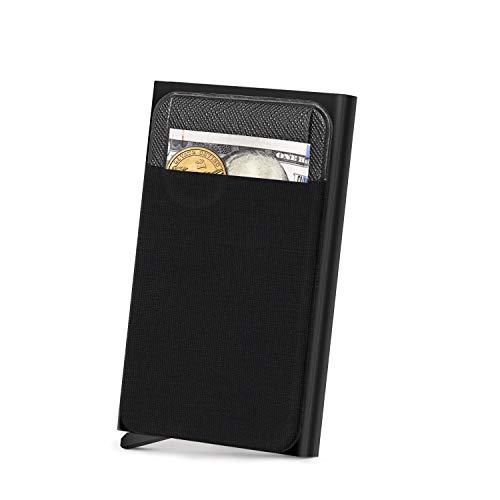 Shayson Porta Carte Credito Schermato Blocco RFID Mini Porta Tessere Uomo Antifurto Portafoglio Minimalisti Metallo Porta Documenti Porta Tessere Portafoglio Pop-up Idee Regalo(NERO)