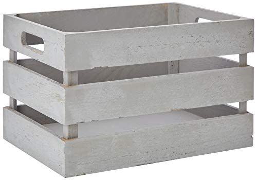 Zeller 15136 Aufbewahrungs-Kiste, Holz, vintage grau, 31 x 21 x 18,7 cm