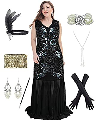 1920s Plus Size Great Gatsby Fringed Flapper Dress with 20s Accessories Set