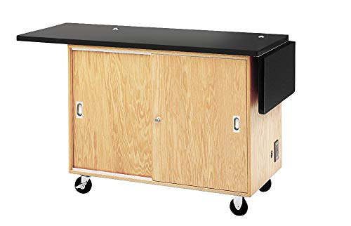 """Diversified Woodcrafts 4121KF-RS UV Finish Solid Oak Wood Mobile Science Laboratory Unit with Rod Sockets, Flat Plastic Laminate Top, 48"""" Width x 36"""" Height x 24"""" Depth"""