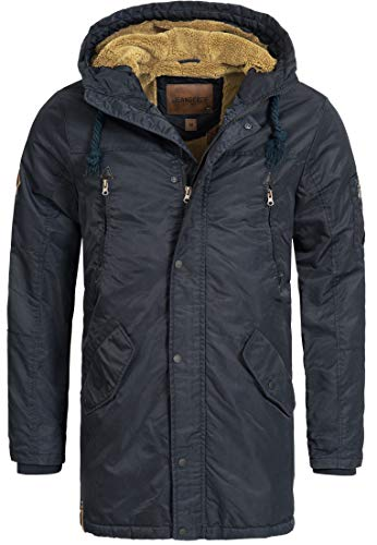 Indicode Herren Bardsley Parka m. gefütterter Kapuze (Teddyfutter) & 6 Taschen | warme Winterjacke robuste Herrenjacke Winterparka Winddichte Outdoorjacke Winter Jacke f. Männer Navy L