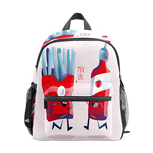 Preshool Rucksäcke, lustig, Fried Pommes Frites und Tomate, Ketchup, Kleinkind, Mini-Schultasche, Kindertagesrucksäcke für Jungen und Mädchen