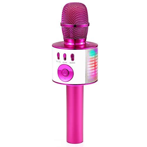 Microfono Karaoke, Microfono Bluetooth Cambia Voce Wireless per Bambini, Karaoke Portatile con Luci LED Multicolore, Regalo Giocattoli per Famiglia Festa Bambini Adulti