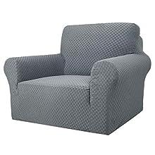 MAXIJIN Fundas de silla Jacquard para sala de estar, superelásticas, antideslizantes, con brazos, perros y mascotas, 1 pieza elástica, protector de sofá (1 plaza, color gris claro)