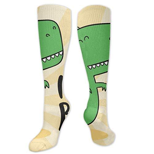 FETEAM The Green Dinosaur Is A Boy Novedad Cool Dress Crew Calcetines, Calcetines largos Transpirable Comodidad Compresión Calcetines altos de tobillo 2 Pares