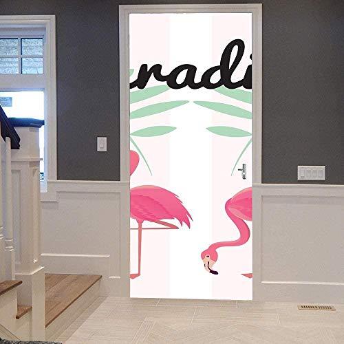 Papel Pintado Puerta Efecto 3D Extraíble Murales Para Puertas Autoadhesivo Impermeable PVC de Cocina Sala Baño oficina Decoración Puerta Papel Tapiz 77 x 200cm Flamenco rosado rayado