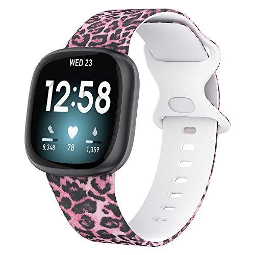 Glebo Compatible con Fitbit Versa 3 / Fitbit Sense, correa de silicona suave, impermeable, correa de repuesto Versa 3, correa de reloj deportiva, accesorio para mujer y hombre, pequeño y rosa leopardo