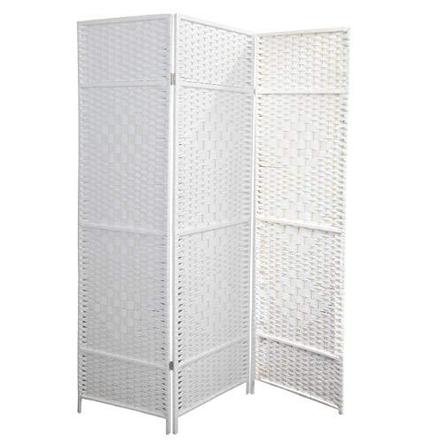 Hogar y Mas Biombo Blanco Bambú Natural 180 cm, Biombo Separador de Ambientes/Vestidor. 3 Paneles 180x135 cm
