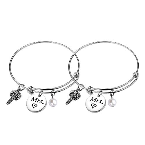 FEELMEM Mrs and Mrs Lesbian Couples Wire Bangle Bracelet Set Hers and Hers Same Sex Wedding Bracelet Lesbian Marriage Gifts Bride to Be Couple Gifts