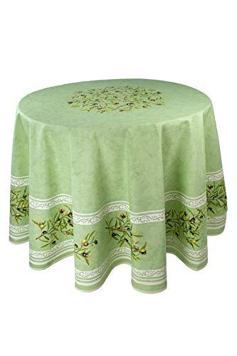 Provence-Tischdecke Maussane grün, rund ca. 180 cm, Baumwolle